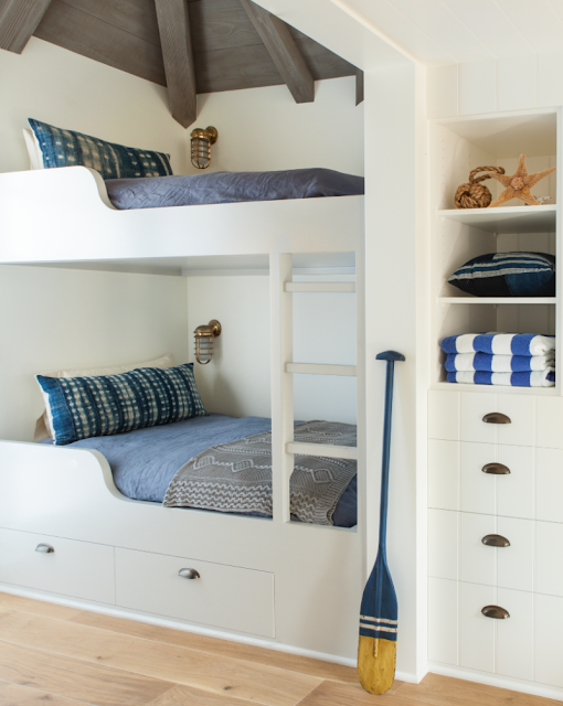 Breathtaking French Country modern farmhouse bunk room by Giannetti Home - found on Hello Lovely Studio