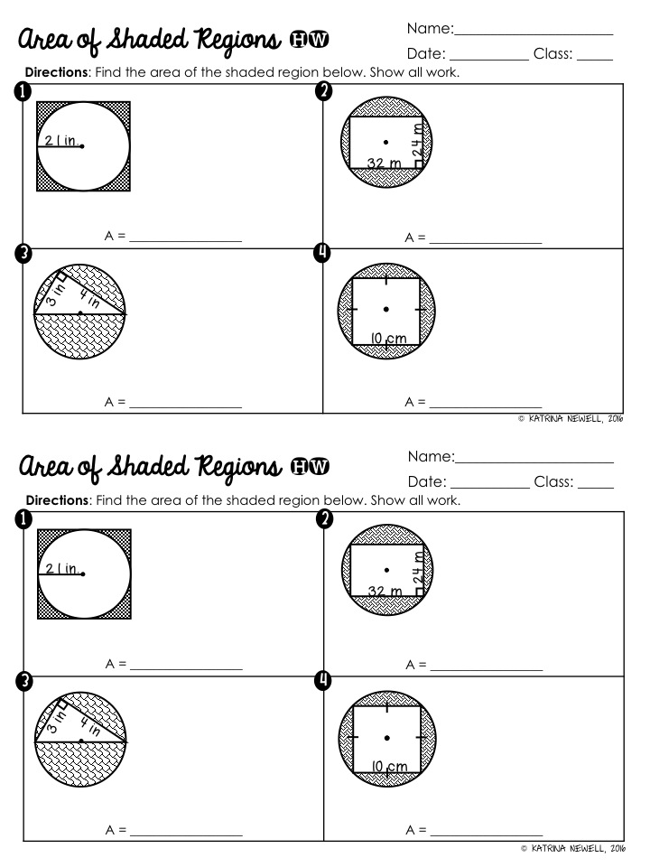 Circle Basics Unit Part 1 Mrs Newells Math – Find the Area of the Shaded Region Worksheet