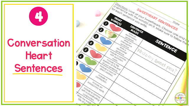 In search of ELA Valentine's Day Activities for Upper Elementary students? Try this Valentine's Day Sentence Writing Activity.