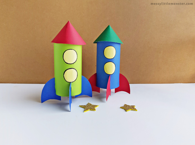 easy paper rocket craft with rocket template