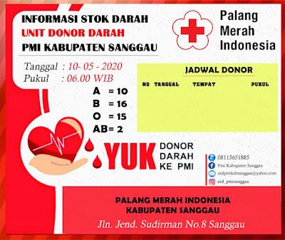 Informasi Stok Darah di UDD PMI Sanggau, senin 11/5/2020
