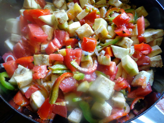 add vegetables to the pan