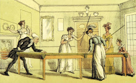 The billiard table by T Rowlandson  in The Three Tours of Doctor Syntax by W Combe (1868)