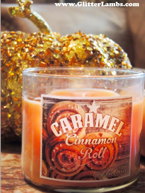 Here is my Caramel Cinnamon Roll candle that I have had buring for days now in my living room.