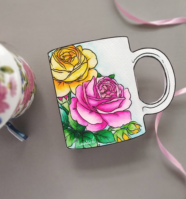STAMPlorations spring bloom stamp, Shaped card, floral card, Coffee tea theme card, watercolored roses, STAMPlorations Digital stamps, Quillish