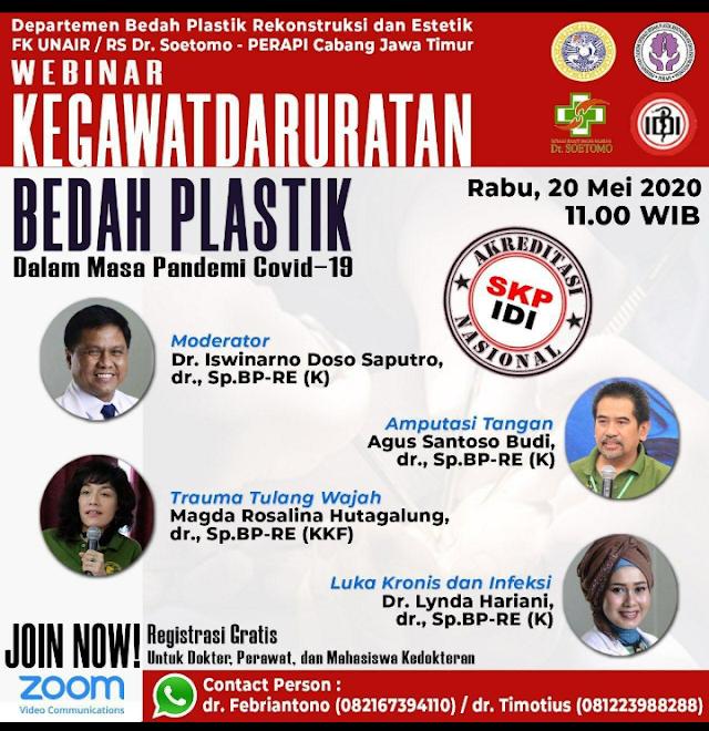 Free Webinar dan SKP IDI: Kegawatdaruratan Bedah Plastik Rabu, 20 Mei 2020