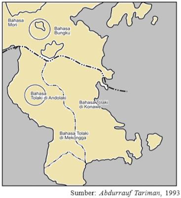 peta persebaran bahasa Tolaki