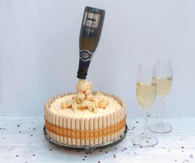 prosecco popcorn bubbles on prosecco anti gravity cake