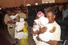 2ab - Bayelsa Governor, Seriake Dickson and wife, Rachael dedicate their quadruplets in Church (photos)