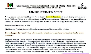 12th, Graduate, ITI, Diploma, B.Tech (Any trade) Job Campus interview In Govt. ITI (Grade-A), Mandi (HP) For M/s Bhagwati Products Limited, Bhiwadi, Rajasthan