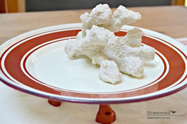 Red and white DIY repurposed enamelware pedestal dish