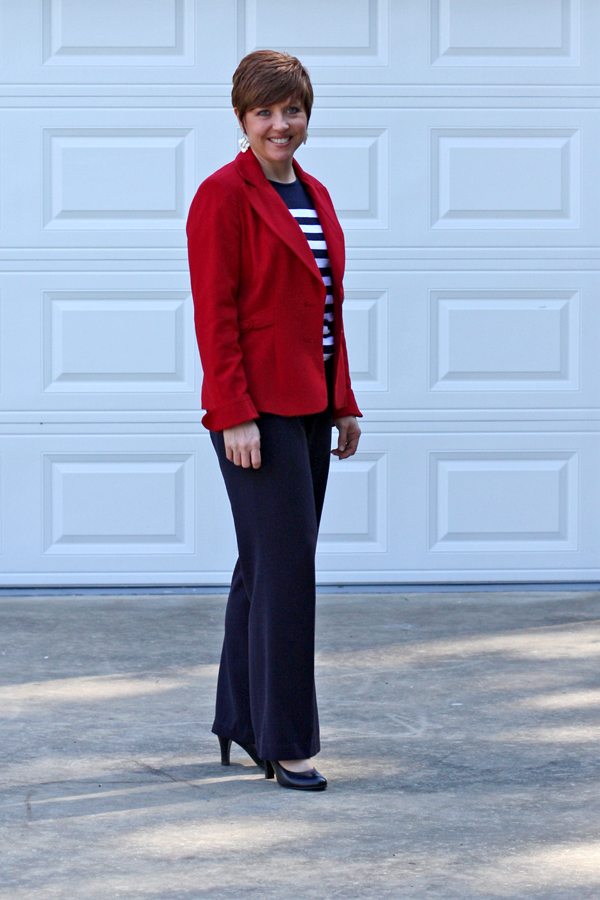 striped top with red blazer