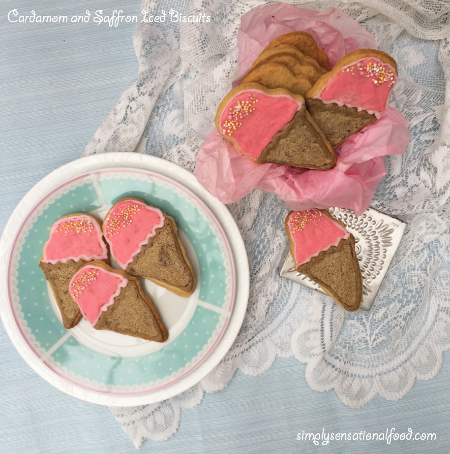 simply.food: Iced Cardamom and Saffron Biscuits