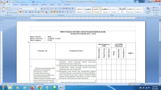 Download Contoh KKM PJOK SD Kelas 3 Semester 1 Kurikulum 2013 doc
