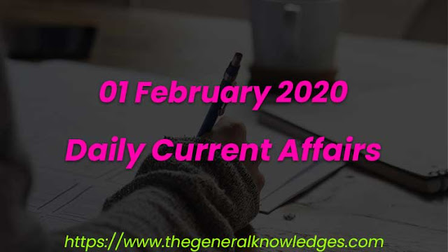 01 February 2020 Current Affairs Questions and Answers in Hindi
