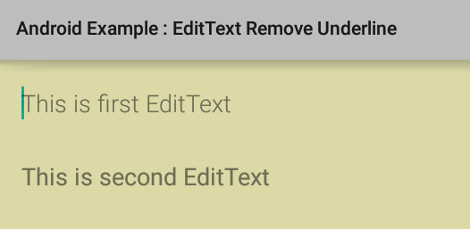 How to remove underline from EditText in Android