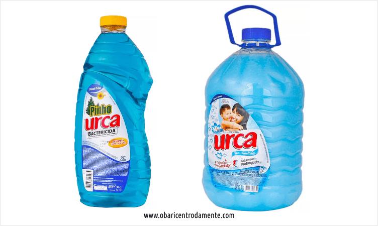 Comparação entre embalagens de desinfetante
