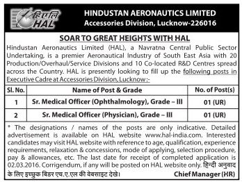 Applications are invited for Sr Medical Officer Posts in HAL Lucknow