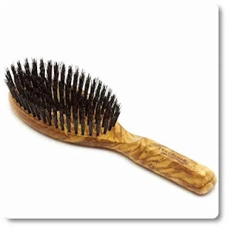 Fendrihan Men's Oval Hairbrush Pure Bristle with Real Olivewood Handle
