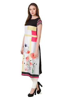 Digital Print Kurta Fabric - Crepe Height - knee length 42 inch (106.68 cm) Sleeve - half sleeve From SWAGG