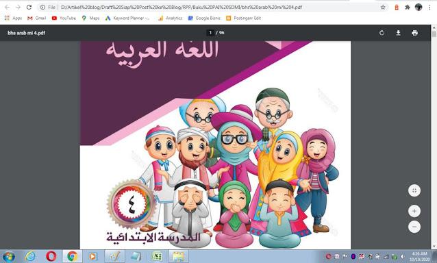 Buku bahasa arab kelas 4 sd/mi sesuai kma 183 tahun 2019