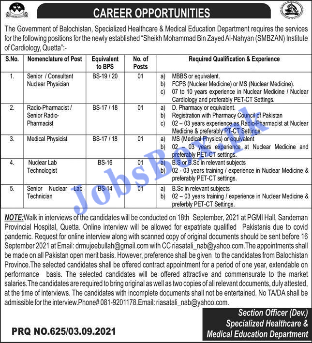 Specialized Healthcare & Medical Education Department Balochistan Jobs 2021 in Pakistan