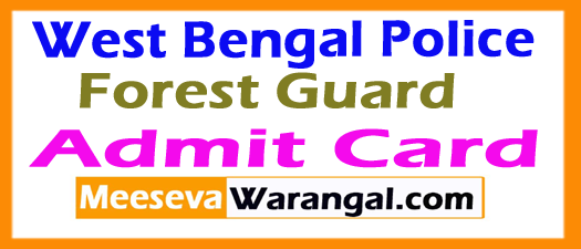 WB Police Forest Guard Admit Card 2017