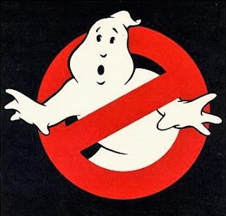 Logo de Los cazafantasmas. Se trata de un fantasma intentado salir de una señal de prohibición (círculo rojo con banda diagonal radial)