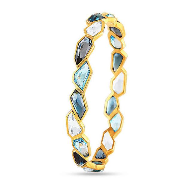 Blue topaz & white quartz Barcelet by Velvetcase.com-