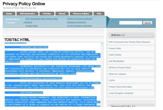 Sobat copy semua kode HTML nya , terus Sobat pastekan ke mode HTML Halaman Terms Of Service Sobat.