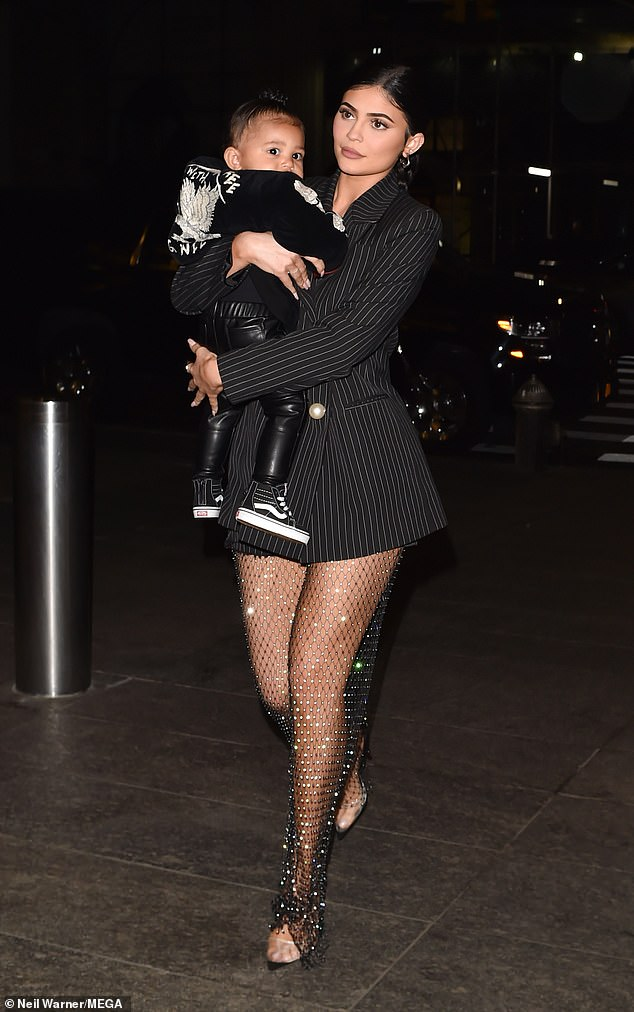 Kylie Jenner cradled Stormi as she headed out to dinner at Nobu in New York City