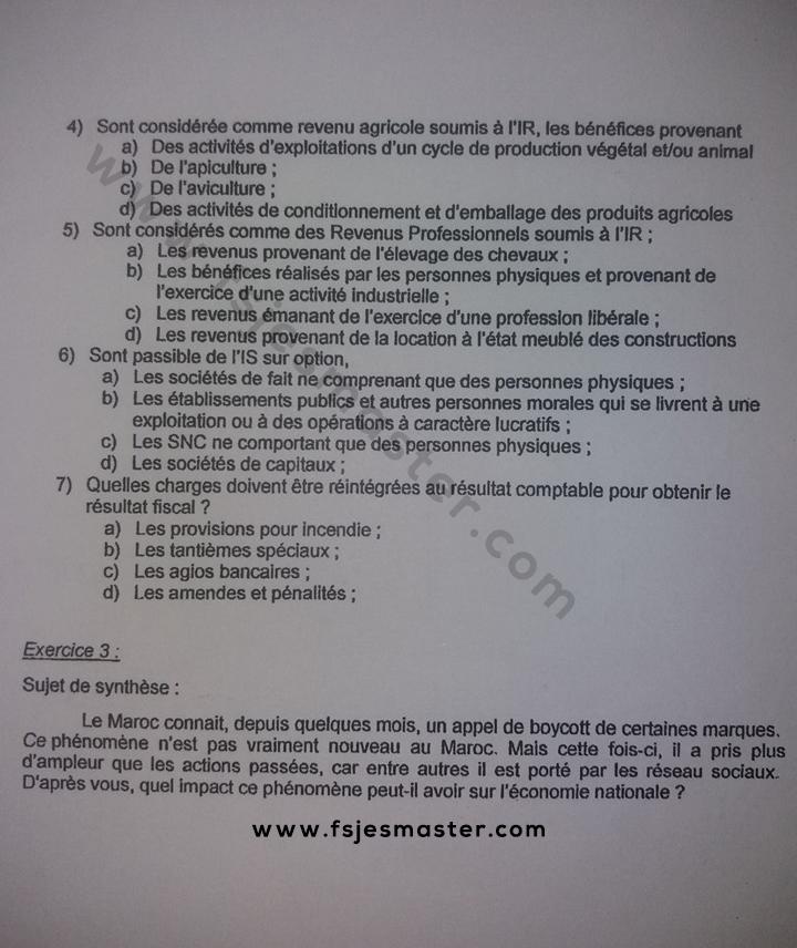 Exemple Concours Master Ingénierie Comptable Fiscale et Financière 2018-2019 - Fsjes Mohammedia