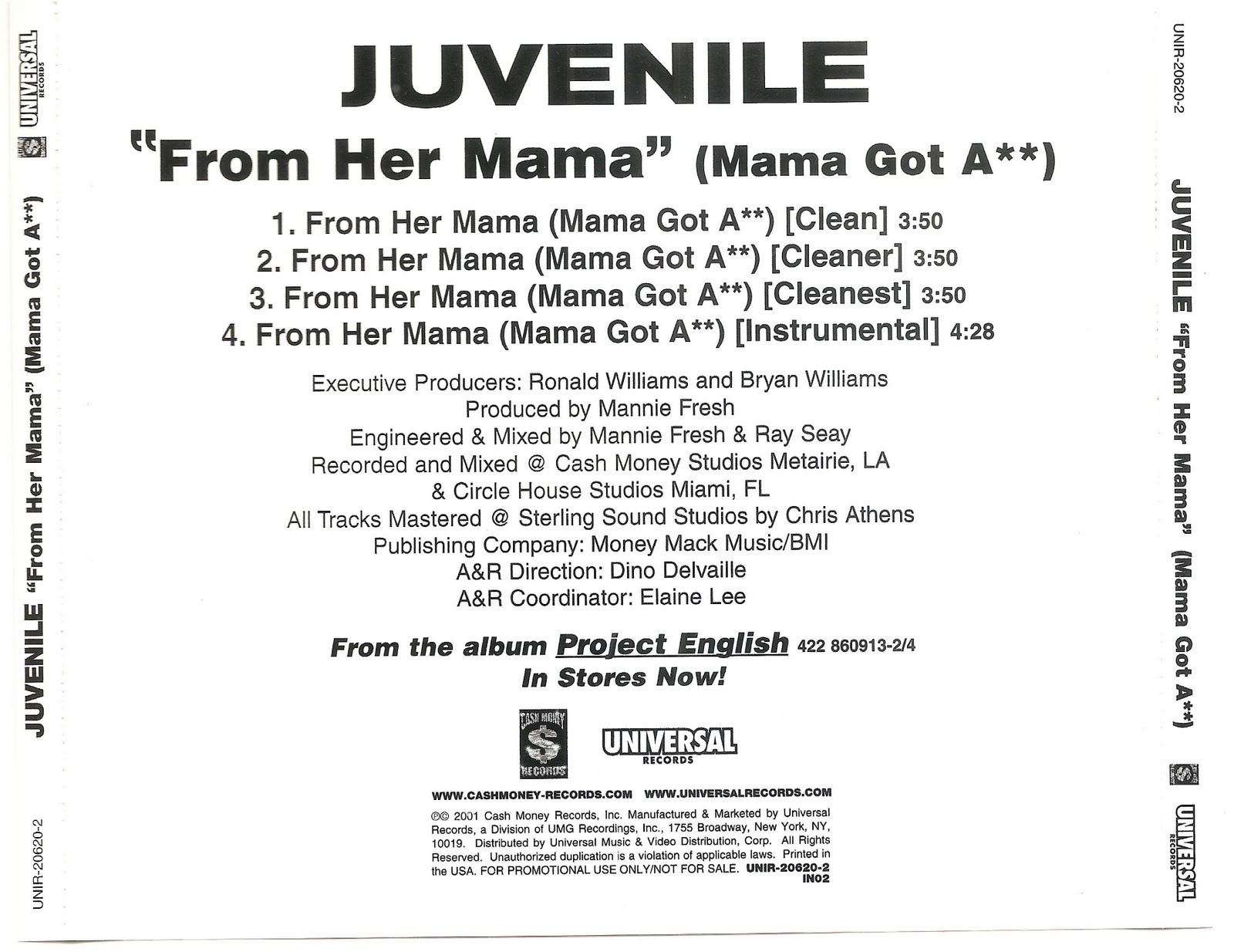 Picture CD: Juvenile-From_Her_Mama-(Promo_CDS)-2001-CDSINGLESV2