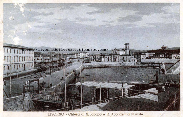 Old postcard, church of San Jacopo in Acquaviva, Livorno