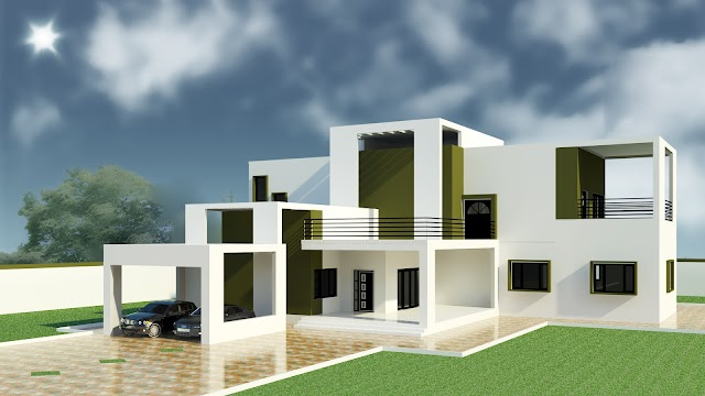 3D MODEL DRAWING DETAILS OF RESIDENTIAL HOUSE [RVT]