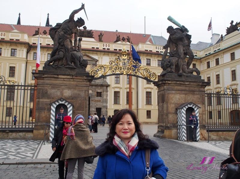 czech republic prague castle entrance fighting giants