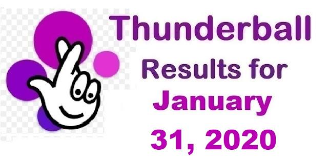 Thunderball Results for Friday, January 31, 2020