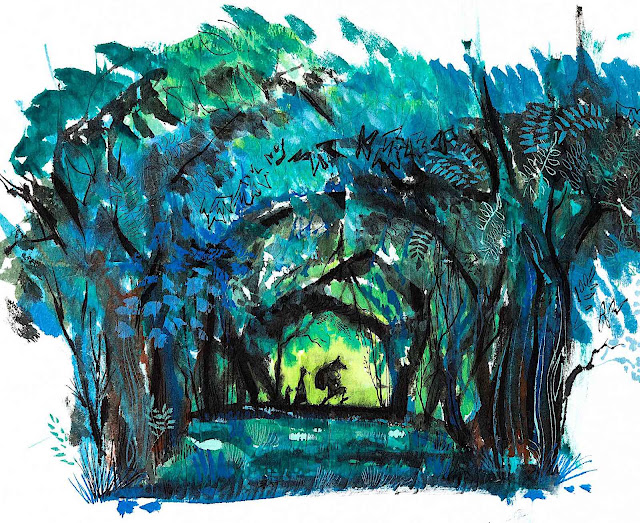 Walt Peregoy, walking throught the woods in silhouette
