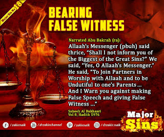 MAJOR SIN. 18. BEARING FALSE WITNESS