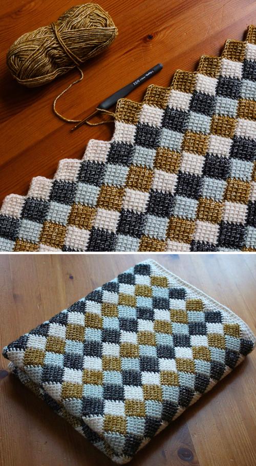 Entrelac Blanket - Free Crochet Pattern