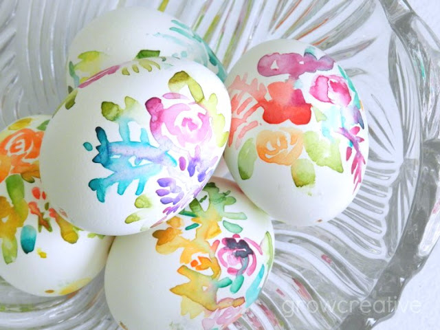 Paint flowers on easter eggs with watercolors: growcreative