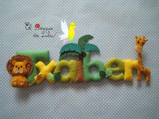 nombre-fieltro-decoración-infantil-name-banner-animales-de-fieltro-regalo-nacimiento