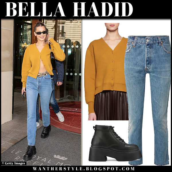 Bella Hadid in mustard cardigan the row and jeans re/done street style september 18