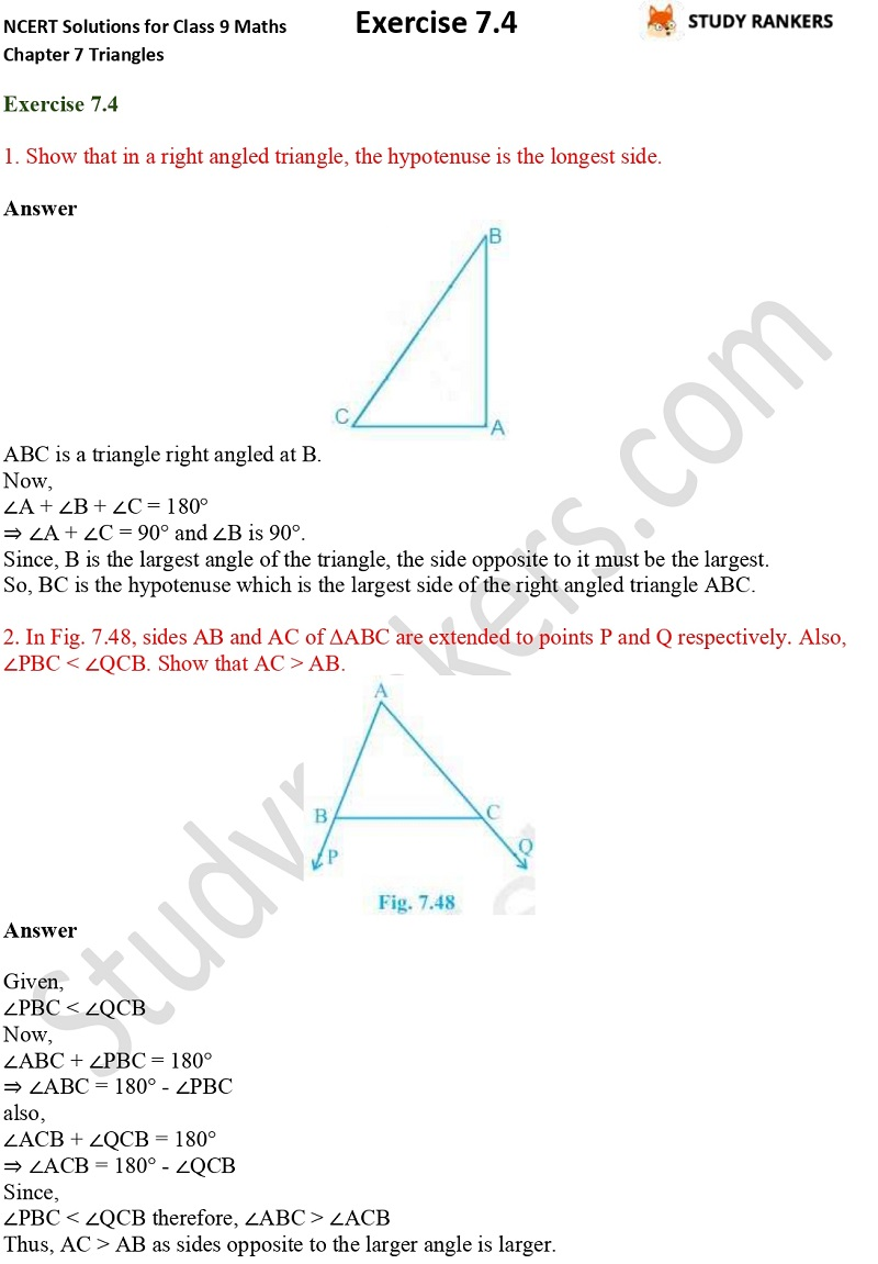 NCERT Solutions for Class 9 Maths Chapter 7 Triangles Exercise 7.4 Part 1