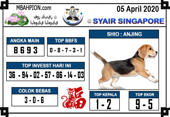 Prediksi SGP Minggu 05 April 2020 - Syair Mbah Pion