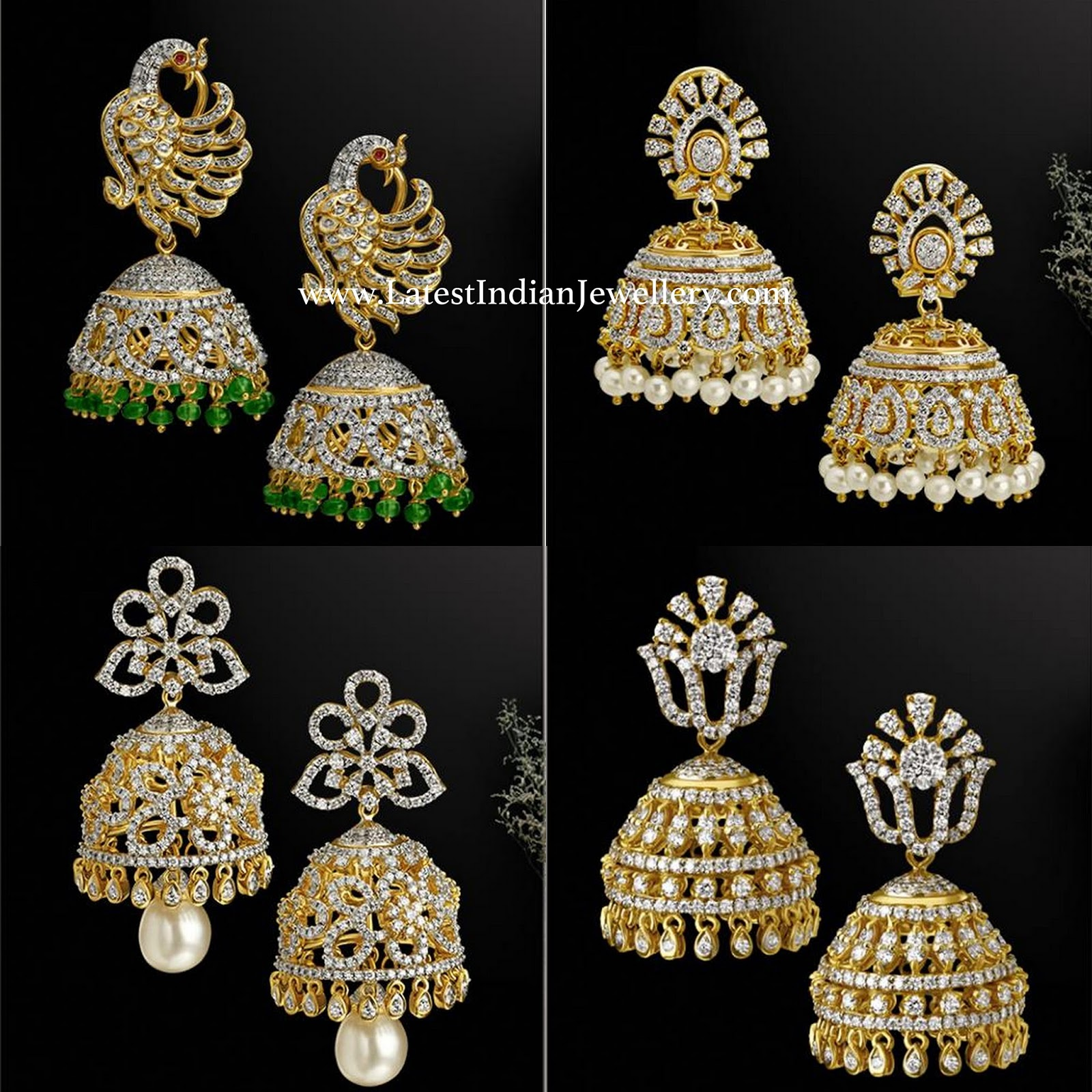 jhumka jewellery peacock diamond flat designs jhumkas