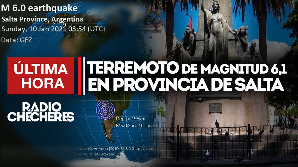 Terremoto de magnitud 6,1 sacude la provincia de Salta, noroeste de #Argentina