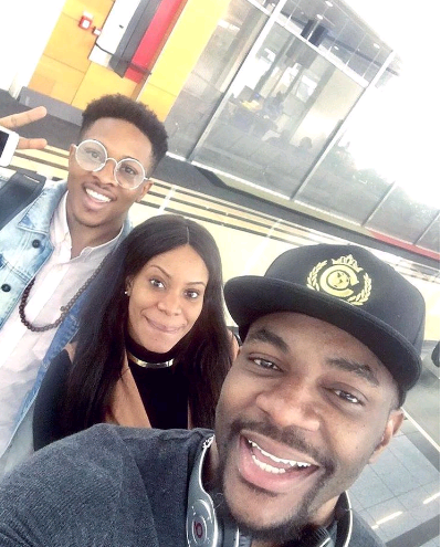 #bbnaija; Fake Housemates, Jon And Ese Pictured With Ebuka Obi-uchendu In Nigeria