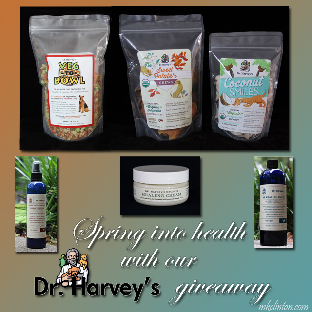 Dr. Harvey's products; Veg-to-Bowl, Sweet Potat'ers, Coconut Smiles, Protections Spray, Healing Cream, and Herbal Shampoo