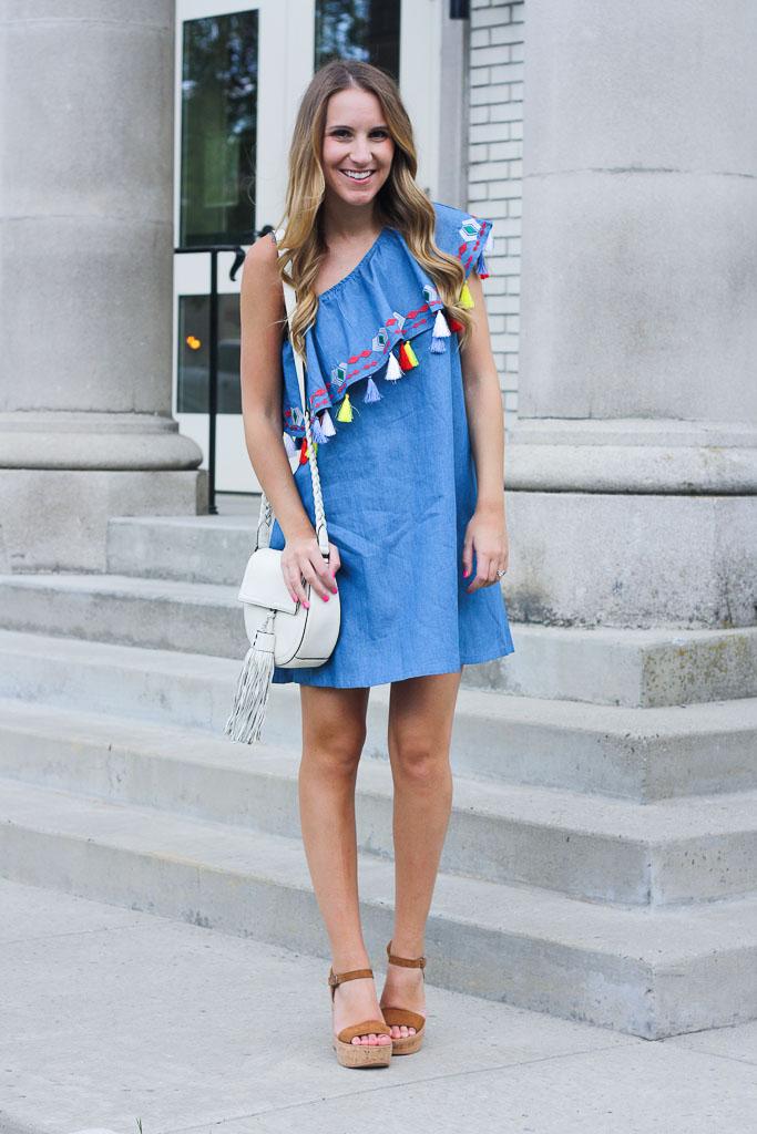 84141f5264670 One Shoulder Tassel Dress - Twenties Girl Style